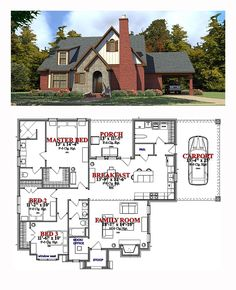 House Plan 78882 | Total Living Area: 1809 sq. ft., 3 bedrooms and 2 bathrooms. #tuscanhome