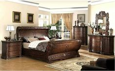 Cannes Gondola Sleigh Bed - Carvings, Dark Cherry at www.dcgstores.com - Sales $2,636.00