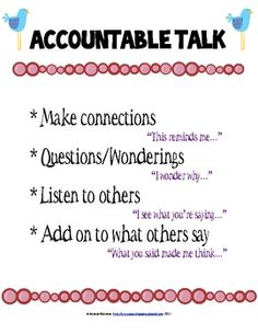 Accountable Talk Posters | Accountable Talk Anchor Chart & Reciprocal Cards