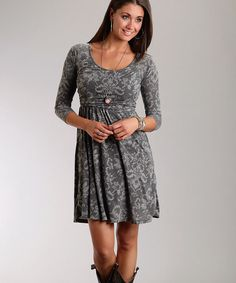 Take a look at this Gray Floral Dress - Women by Roper on #zulily today!