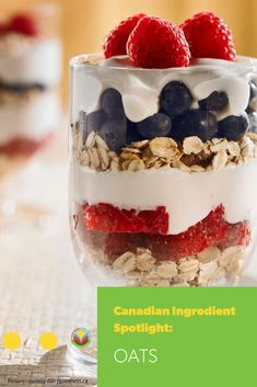 As a whole grain, oats are high in both insoluble and soluble fibre and you need both for a healthy diet. Parfait Recipes, Oats Recipes, No Dairy Recipes, Fruit Recipes, Snack Recipes, Barley Recipes, Bison Recipes, Mushroom Recipes, Egg Recipes
