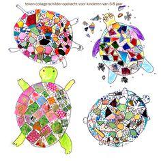 'ik maak een mooie schildpad!' Vier meisjes van rond de 5 en 6 jaar maken deze prachtige werkstukjes. Tekenen, schilderen en collagetechnieken zijn er toegepast.