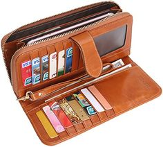 Heshe Women's Long Wallets Money Clip Card Case Holder Large Capacity Purse Clutch for Ladies with Wrist Strap - Camel-e Money Clip Wallet, Money Clips, Money Case, Slim Front Pocket Wallet, Thing 1, Wallet Pattern, Best Handbags, Rfid Wallet, Long Wallet