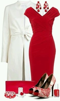 Rose red and white.  I *love* these pumps!