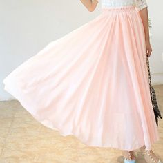 $10.30 Bohemian Style High Waist Solid Color Maxi Skirt For Women