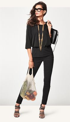 Black is always in style.  Indulgence Top and Dot Trouser.  Shop 24/7 at nikiwulf.cabionline.com.