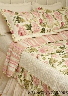 Chic Shabby Sage Rose Pink Peony Floral Cotton King Quilt Set 100 Cotton | eBay