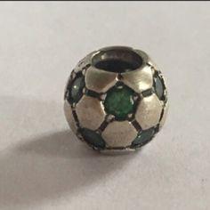 REAL PANDORA silver and green soccer ball charm Real pandora soccer ball charm with green gems. Very pretty Pandora Jewelry