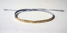 tiny faceted gold nugget beaded micro macrame by piecesandchloe