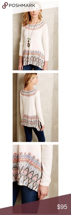 """Anthropologie Karoo Pullover Knitted & Knotted Lightweight cotton knit Hanky hemline Pullover styling Hand wash Imported  Style No. 4113265407431 Dimensions Regular: 24""""L   IRL Pics Coming Soon  Anthropologie Sweaters"""