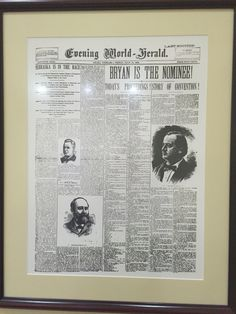 Old paper/ William Jennings Bryant was an editor of the paper