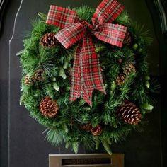 Tartan Bow and Pinecone Wreath 75cm