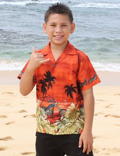 Check out the deal on Motorcycle Design Cotton Rust Shirt for Boys at Shaka Time Hawaii Clothing Store FREE SHIPPING from HAWAII #hawaiianshirts #boysshirts #hawaiianclothes #boys #girls #shakatime