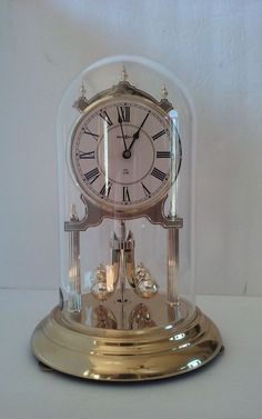 """Vintage Howard Miller Dual Chime 12"""" Anniversary Clock and Glass Dome Ave Maria"""