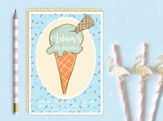 A personal favourite from my Etsy shop https://www.etsy.com/uk/listing/498254709/printable-personalised-ice-cream-cone