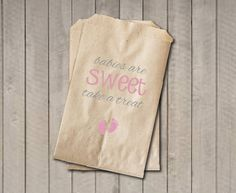 Girl Baby Shower Favor Bags, Babies Are Sweet Bags, Pink Baby Feet Shower Favor Bag, Baby Shower Candy Buffet - Pink & Grey