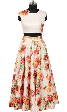 Blush Crop Top & Long Skirt With Flowers