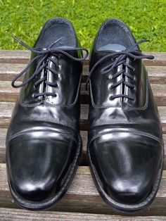 STUART McGUIRE Black Leather Ortho Vent Spring Step Cap Toe Oxfords VTG 12 EEE #STUARTMcGUIRE #Oxfords
