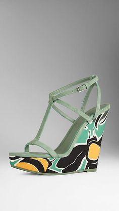Smokey green Suede and Book Cover Print Platform Wedges