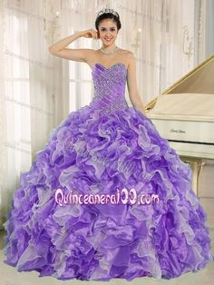 Popular Light Purple Beading Bodice Quince Dresses with Ruffles