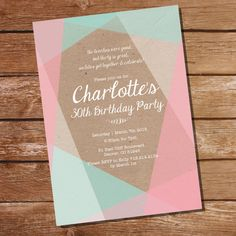 Kraft Geometric Birthday Invitation in Pastels - 40th 50th 60th 70th 80th invitation - Instant Download and Edit with Adobe Reader