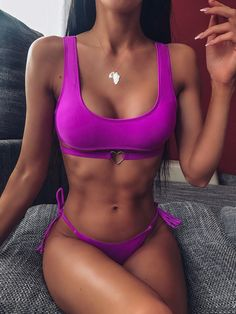 Check out this Solid Top With Tie Side Belted Bikini Set on Shein and explore more to meet your fashion needs! Cheap Swimsuits, Two Piece Swimsuits, One Piece Swimwear, Women Swimsuits, Black Bikini, Sexy Bikini, Bikini Swimwear, Old Lady Swimsuit, Mode Du Bikini