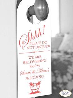 Set of 10 - Tropical Door Hanger for Wedding Hotel Welcome Bag - Do Not Disturb - Destination Wedding - Palm Tree - Beach - Custom