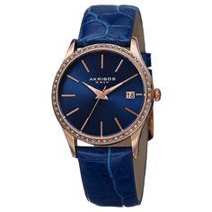 Akribos XXIV Women's Japanese Quartz Austrian Crystal Leather Bracelet Watch