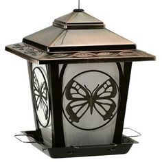 Audubon Bird Feeder, Hopper Style With Butterfly Accents, Metal: Model# NA32321TV | True Value