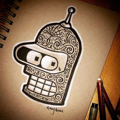 Bender  #futurama #sketch #doodle #bender #draw #drawlloween #Dayofthedead #robot #artist #dribbble #sketchzone #skateboard #artlover #comiccon #notsureif #halloween #tattoo #prismacolor #adobe #comicartist #drawme by http://ift.tt/1MyJwZv