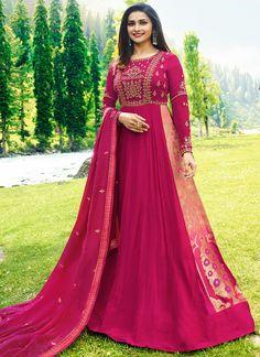 ed3e739a90 Buy Fuchsia Pink Prachi Desai Floor Length Anarkali Suit - Best Quality–Liinara  Designer Blouses