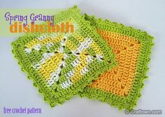 Free Crochet Pattern - Granny Dishcloth. Our new dishcloth is made using the solid granny square motif and a row of pretty picots! #craftown #crochet #dishcloth