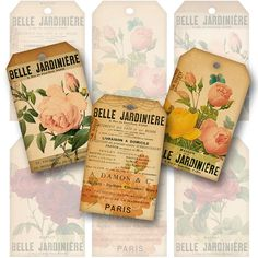 Roses French Ephemera Gift Tags Digital by DreamDigitalDownload, $4.80