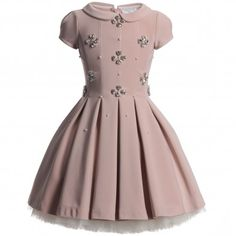 Monnalisa Girls Pink Diamante Couture Dress | CHILDRENSALON