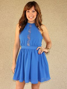 'Nightingale' Lace Detail Halter Dress (Blue)