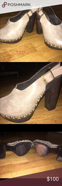 """Charles David clog heels ✨ These are a size 8, but I am a 7.5 and they fit perfect ✨These are amazing shoes, chunky clog goes really well with dainty dresses & jeans! Dark brown wood heels (approx 4"""") and grey leather front/top with brass buttons lining the leather. SO CUTE. in good used condition with little scuffs here and there but still look great on! The wood is super easy to polish out scratches which is awesome! Charles David Shoes Heels"""