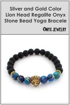 New Male Silver & Gold Color Lion Head 8mm Regalite Onyx Stones Bead Elastic Mala Yoga Bracelets Jewelry Man Gift - Free Shipping for All Products - Read all at https://onyxjewelry.net #onyx bracelet women #onyx bracelet gemstones #onyx bracelet #onyx jewelry