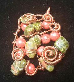 Freeform pendant- unakite & glass pearls