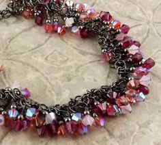 Hey, I found this really awesome Etsy listing at https://www.etsy.com/listing/179124651/in-the-pink-multicolor-gunmetal-finish