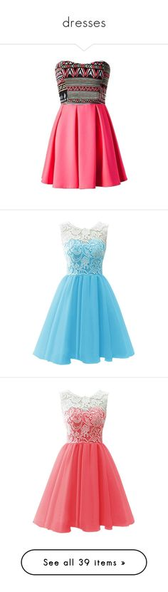 """dresses"" by ashleighwilliams2002 ❤ liked on Polyvore featuring dresses, vestidos, robes, short dresses, pink mini dress, skater dress, strapless dress, short strapless dresses, strapless mini dress and blue"