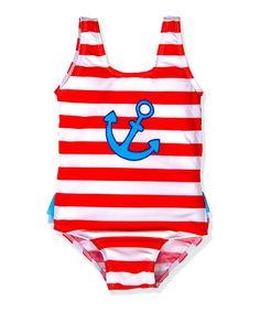 Look what I found on #zulily! Red & White Sweet Sailor One-Piece - Toddler & Girls #zulilyfinds