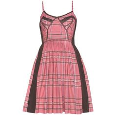 Miu Miu Lace-trimmed check cotton dress (58,655 DOP) ❤ liked on Polyvore featuring dresses and miu miu