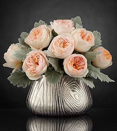 A unique 'wood' 5th Anniversary Gift Idea!  Arrangement comes in a modern woodgrain inspired vase,  Woodland Beauty Luxury Rose Bouquet