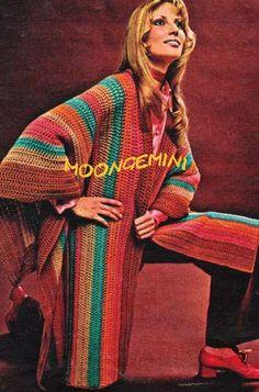PDF Crocheted Boho Ruana Serape Cape Shawl Vintage Crochet Pattern Instant Download