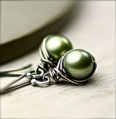 Sage Spring Green Freshwater Pearls Wire Wrapped Earrings on Oxidized Sterling Silver. $34.00, via Etsy.