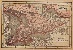 RARE-1890-Antique-ONTARIO-Canada-Map-RARE-MINIATURE-Map-of-Ontario-1371