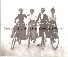 These four women look like they are having so much fun.  One even lost her hat!  I want to go for a bike ride!  Undated photograph  from Amelia Island Museum of History.
