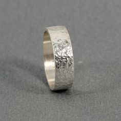 5 mm Handmade Hammered 925K Sterling Silver Designer Flat Pipe Cut Wedding Band Ring by Caprixus, $40.00
