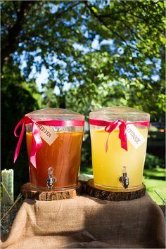 Ice tea and lemonade station ideas. Captured By: Erica Chan Photography http://www.weddingchicks.com/2014/06/20/handcrafted-barn-wedding-2/