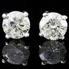 0.78ct ESTATE ROUND CUT GENUINE DIAMOND SOLITAIRE STUDS EARRINGS 14K WHITE GOLD